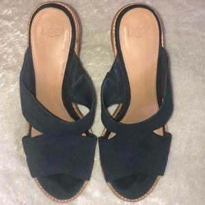 UGG blue suede leather mule heels